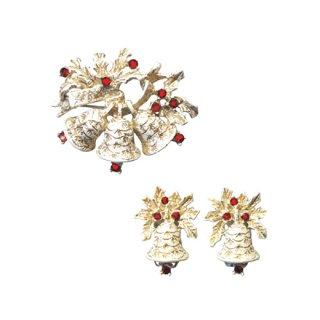 ドッズ・白いベルと赤いラインストーンのクリスマスブローチセット
