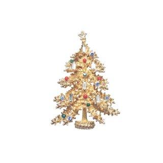 アート・蝋燭が灯った金色のモミの木のクリスマスツリーブローチ