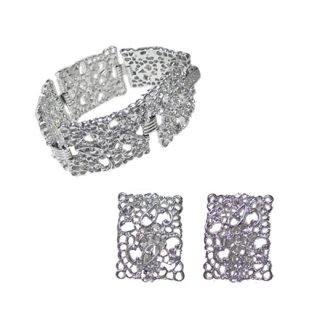 エモンズ・シルバーカラーの透かし模様のブレスレットセット