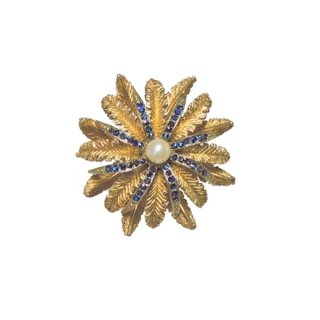 アート・アンティークテイストの金色のお花のブローチ