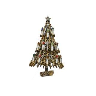 アート・12本の蝋燭が灯ったクリスマスツリーのブローチ