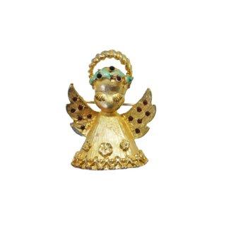 マイルー・金色の小さな天使のクリスマスブローチ