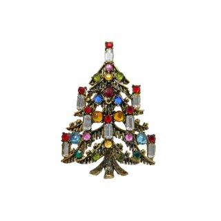 ホリークラフト・ゴージャスに煌くラインストーンのクリスマスツリーブローチ
