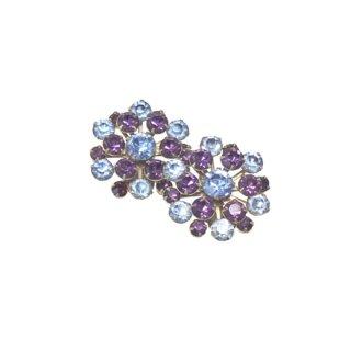 紫と水色ラインストーンの華やかなイヤリング