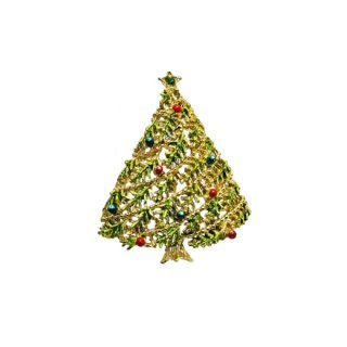 ゲリーズ・ドットで飾られたクリスマスツリーのブローチ