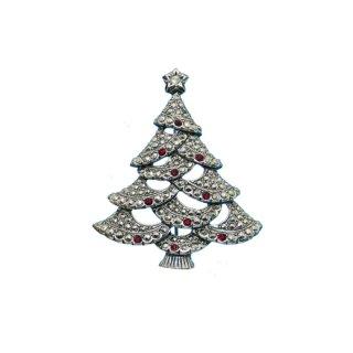 エイボン・シックな銀色のクリスマスツリーブローチ