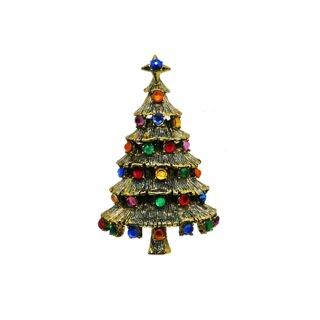 ホリークラフト・綺麗なラインストーンのクリスマスツリーブローチ