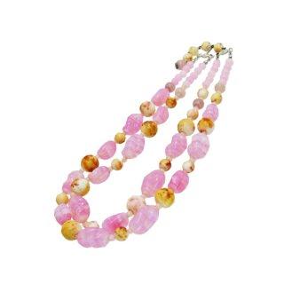 マーベラ・レトロなピンク色マーブルガラスの2連ネックレス