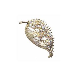 コロ・金色リーフとラインストーンのお花のブローチ