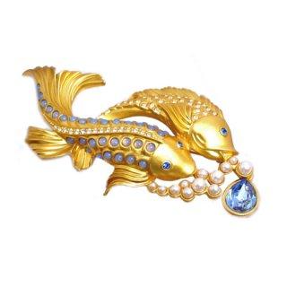 エリザベステイラー・二匹の魚のブローチ