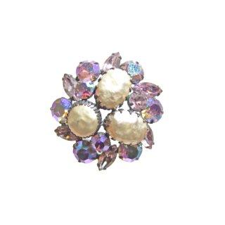 リージェンシー・パールと薄紫のラインストーンのブローチ