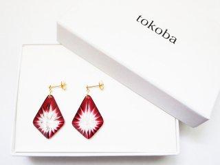 tokoba ピラミッド・ピアス 赤スパーク(K18)