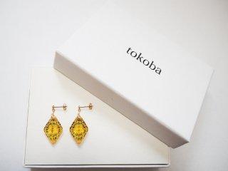 tokoba ピラミッド・ピアスmini アンバー緑菊つなぎ(K18)