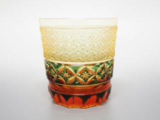 アンバー緑七宝菊つなぎオールドグラス