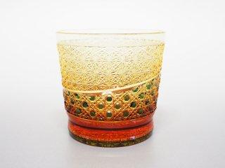 緑アンバー菊つなぎ八角かごめオールドグラス