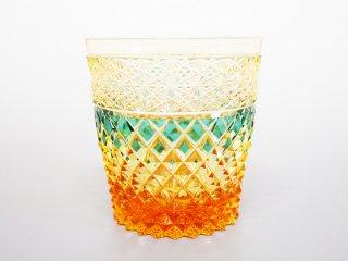緑アンバー菊つなぎ矢来オールドグラス