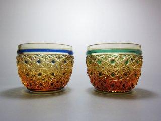 アンバー菊籠目酒杯