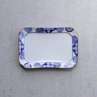古染丸紋草花 焼皿