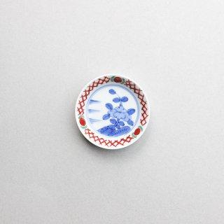 染錦渕地紋見込花2.7寸小皿