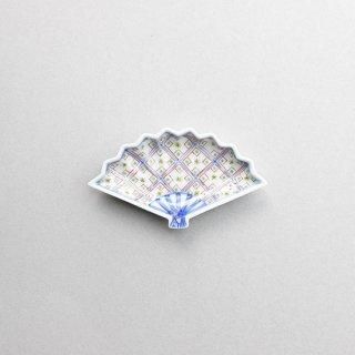 染錦更紗扇型小皿