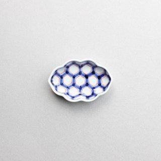 染錦亀甲中入木甲型小皿