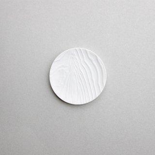 木目 丸小皿 白