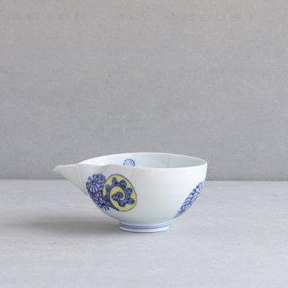 染錦蛸唐草丸紋 片口(大)