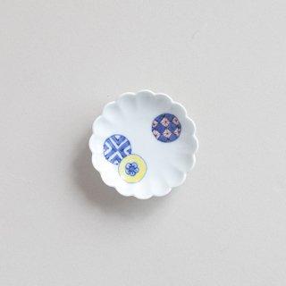 染錦丸紋 菊型3寸小皿