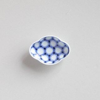 染付亀甲 木甲型小皿