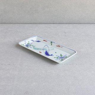 染錦双海老 長角皿(中)