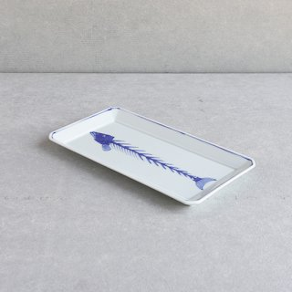 染付魚(骨) 長角皿(大)