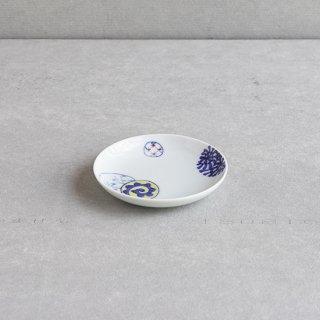 染錦蛸唐草丸紋 4寸皿