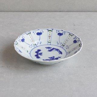 染錦草花紋 桔梗渕7寸中鉢