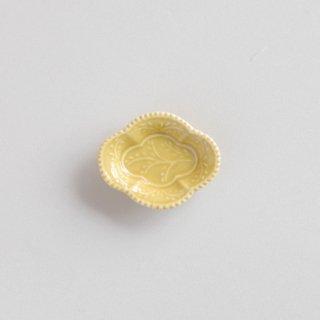 黄釉 木瓜型小皿