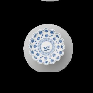 染付梅散し文 菊花型手塩皿