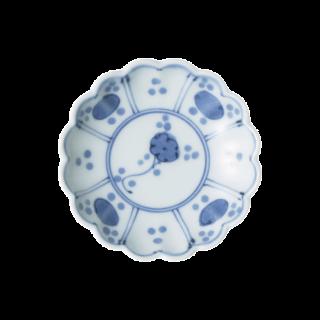 染付芙蓉手見込草花 菊型3寸小皿