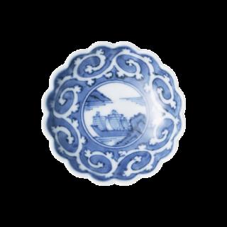 染付外濃蛸唐草山水 菊型3寸小皿
