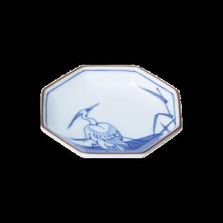 染錦白鷺文 小皿 (八角)