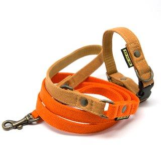 カラー&リードセット 15mm幅 バイカラー(オレンジ)×首輪キャメル