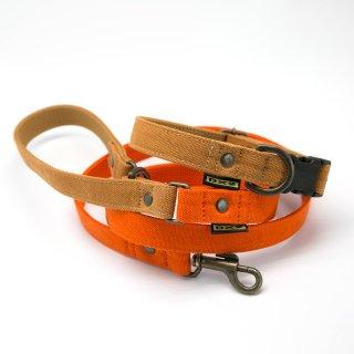 カラー&リードセット 20mm幅 バイカラー(オレンジ)×首輪キャメル