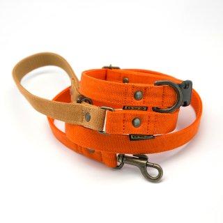 カラー&リードセット 20mm幅 バイカラー(オレンジ)×首輪オレンジ