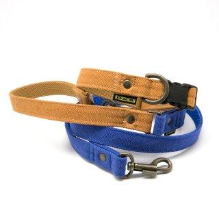 カラー&リードセット 15mm幅 バイカラー(ブルー)×首輪キャメル