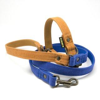 カラー&リードセット 20mm幅 バイカラー(ブルー)×首輪キャメル