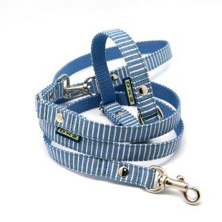 カラー&リードセット 15mm幅 ヒッコリー(ブルー)