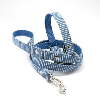 カラー&リードセット  20mm幅 ヒッコリー(ブルー)
