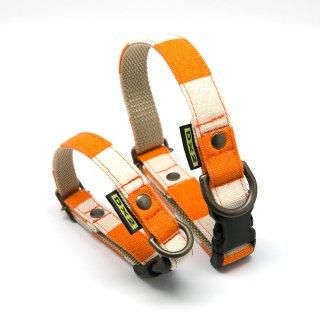 カラー(首輪) 15mm・20mm幅 ヴィンテージボーダー(オレンジ)