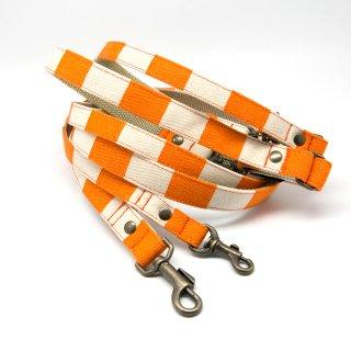 リード(引き紐) 15mm・20mm幅 ヴィンテージボーダー(オレンジ)