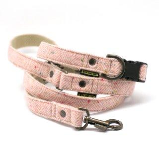 カラー&リードセット 20mm幅 ヘリンボーン(ピンク)