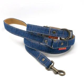 カラー&リードセット  20mm幅 デニム(ブルー)
