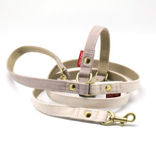 カラー&リードセット 15mm幅 バイカラー(グレー×オフホワイト)首輪(グレー)